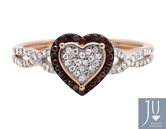 Other Heart Infinity Shank Brown And White Diamond Engagement Ring .20ct Image 3