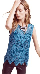 Anthropologie Blue Lace Blouse Top Teal
