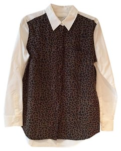 Equipment Button Down Shirt white brown black green