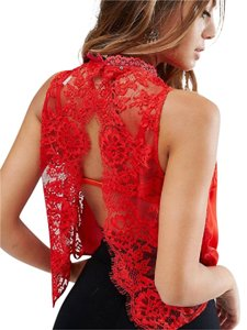 Free People Lace Urban Outfitters Bohemian Top Red