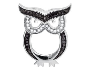 Other Owl Outline Black and White Diamond 1 Inch Pendant Charm 0.15ct.