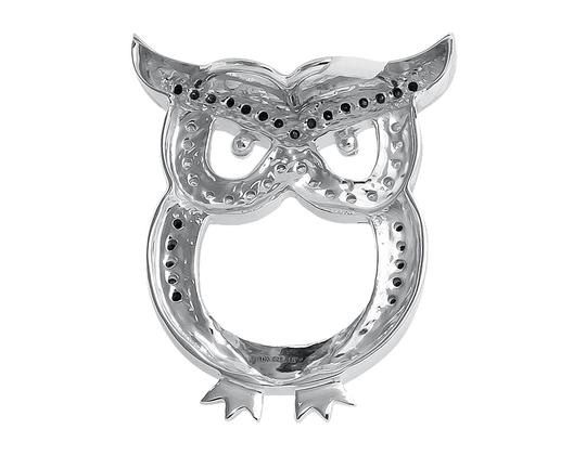 Other Owl Outline Black and White Diamond 1 Inch Pendant Charm 0.15ct. Image 2
