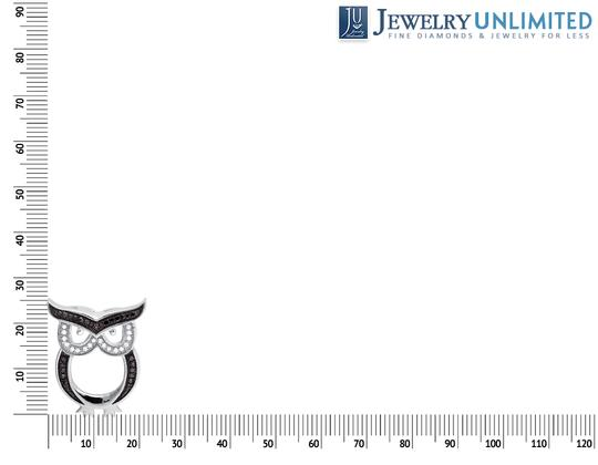 Other Owl Outline Black and White Diamond 1 Inch Pendant Charm 0.15ct. Image 3