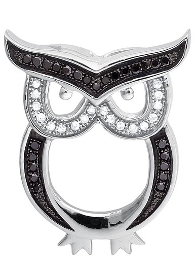 Other Owl Outline Black and White Diamond 1 Inch Pendant Charm 0.15ct. Image 4