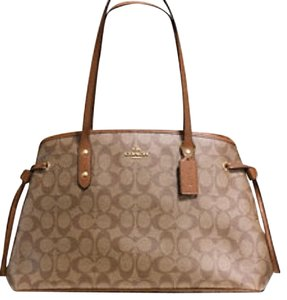 Coach New With Tags Drawstring Carryall Satchel in Khaki / Saddle