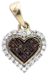 Other Heart Cognac Brown and White Diamond 1/2