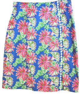 Lilly Pulitzer A-line Tropical Skirt Multi Blue, Green, Pink