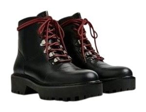 Zara Leather Lace-up Track Sole Military Blck Boots