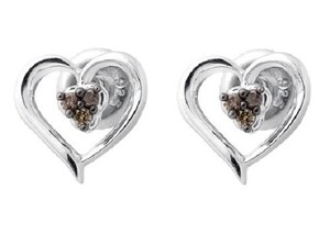 Other Heart Trio Brown Cognac Diamond 10MM Earring Stud 0.07ct