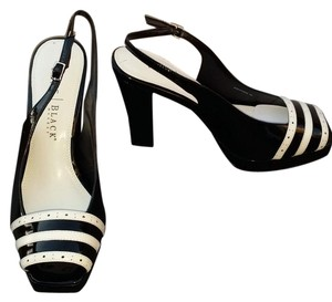 White House   Black Market Sling Black and White Patent Leather Sandals
