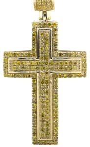 Other Dome Cross Round-Cut Canary Diamond 1 Inch Pendant Charm 0.51ct