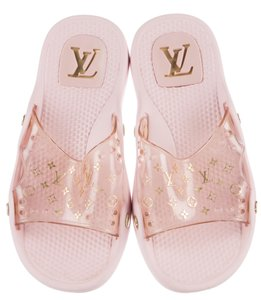Louis Vuitton Logo Lv Monogram Gold Hardware Perforated Print Pink, Gold Sandals