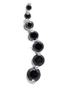 Other Journey Black Round-Cut Diamond 3/4 Inch Pendant Charm 0.28ct.