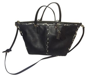 Coach Satchel in black with white and black snake print accent