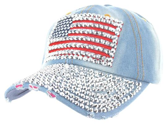 Preload https://img-static.tradesy.com/item/21147674/denin-and-bling-crystal-usa-american-flag-distressed-baseball-cap-hat-0-1-540-540.jpg
