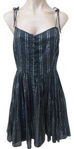 Kate Moss for Topshop short dress Black Cotton Size 10 Silver Stripe Mini Strappy on Tradesy