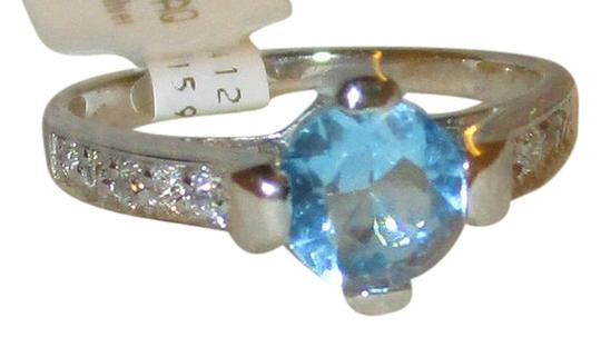 rlss 925 Sterling Silver 1.2CTW Round Genuine BLUE TOPAZ Ring Topaz Accents Image 0