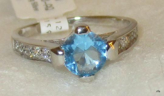 rlss 925 Sterling Silver 1.2CTW Round Genuine BLUE TOPAZ Ring Topaz Accents Image 1