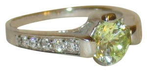 rlss 925 Sterling Silver 1.2CTW Round Genuine PERIDOT Ring Topaz Accents
