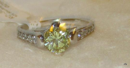 rlss 925 Sterling Silver 1.2CTW Round Genuine PERIDOT Ring Topaz Accents Image 1