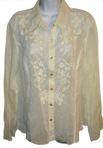 J. Jill Embroidered Summer Spring Blouse Button Down Shirt Ivory