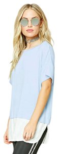 Forever 21 Top Light Blue/Ivory