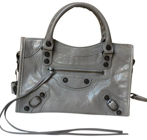 Balenciaga Mini City Gris Pyrite Classic Hardware Cross Body Bag