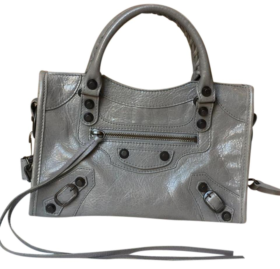 5a291cd5e2a Balenciaga Classic Mini City Grey Lambskin Leather Cross Body Bag ...