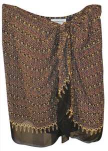 Emanuel Ungaro Tribal Print Silk Skirt Black, Burgandy Multi-color
