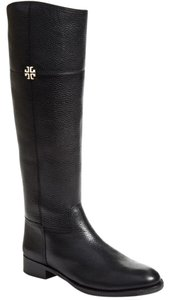 Tory Burch Jolie Amanda Riding Grained Leather Black Boots