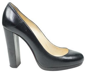 Christian Louboutin Grapi 39 Round Toe 120 Leather Black Pumps