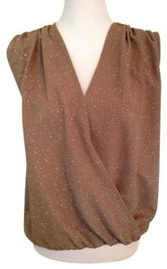 Alice + Olivia Glitter Draped Party Top brown and gold