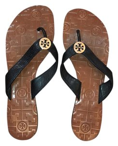 Tory Burch black gold tan Sandals