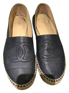 Chanel Espadrilles Leather Cc Dark navy Flats