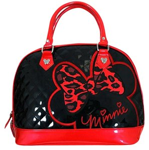 2ab18a01b4 Loungefly Minnie Mouse Leather Patent Quilted Satchel in black   red
