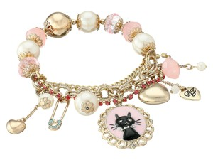 Betsey Johnson Gold-tone Cat Charm And Faceted Bead Stretch Bracelet