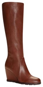Kate Spade Riding Wedge Brown Leather Chestnut Brown Boots