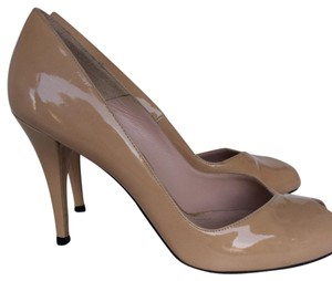 Stuart Weitzman Patent Leather Made In Spain Peep Toe Nude Pumps