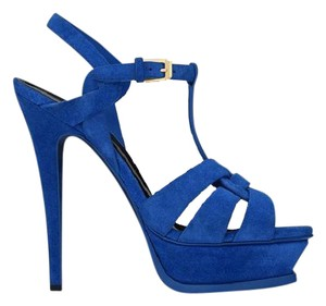 Saint Laurent Ysl Platform Tribute Suede Blue Electric Blue Sandals