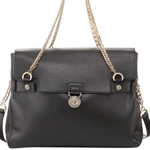 Versace Leather Chain Carry Handles Strap Tote in Black