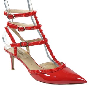 Valentino Punkouture 38 65mm Patent Leather Ankle Strap Red Pumps