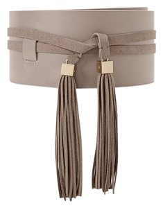 White House | Black Market New with tags tassel detail wide gray taupe obi belt size Medium/Large