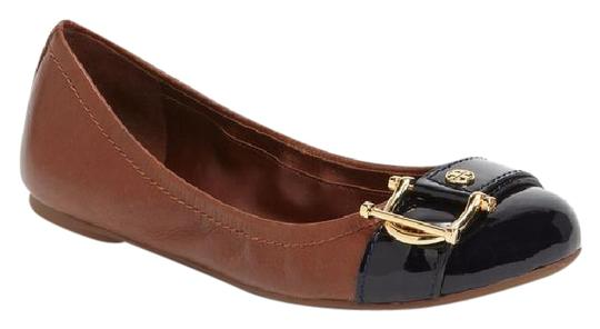 Tory Burch Noel Ballet Buckle Leather Cap Toe Brown Flats Image 0