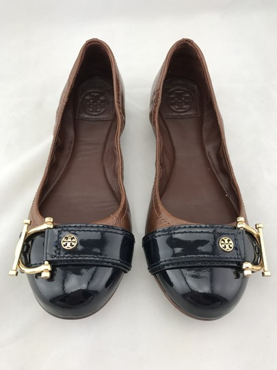 Tory Burch Noel Ballet Buckle Leather Cap Toe Brown Flats Image 1