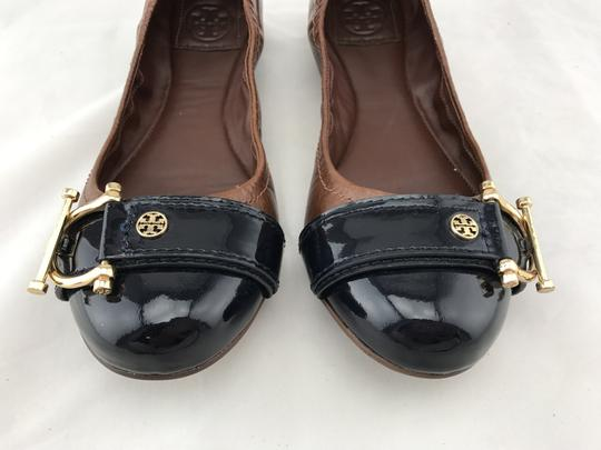 Tory Burch Noel Ballet Buckle Leather Cap Toe Brown Flats Image 2