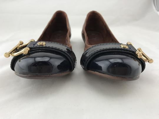 Tory Burch Noel Ballet Buckle Leather Cap Toe Brown Flats Image 3