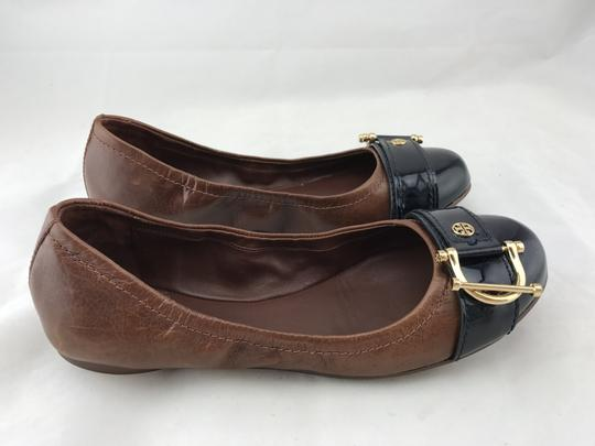 Tory Burch Noel Ballet Buckle Leather Cap Toe Brown Flats Image 4