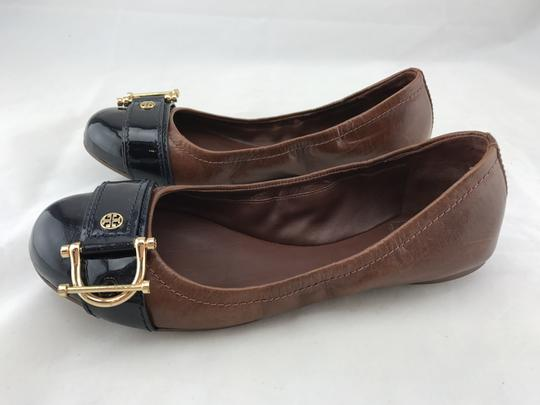 Tory Burch Noel Ballet Buckle Leather Cap Toe Brown Flats Image 5