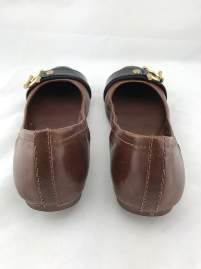 Tory Burch Noel Ballet Buckle Leather Cap Toe Brown Flats Image 6