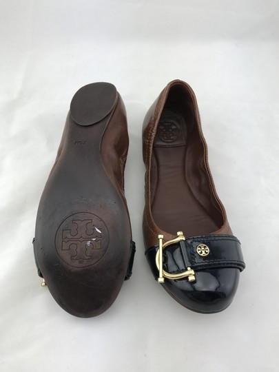 Tory Burch Noel Ballet Buckle Leather Cap Toe Brown Flats Image 7